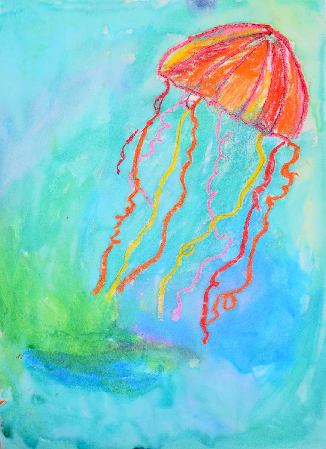 An orange, red and yellow jellyfish floating against a blue, green and purple background.