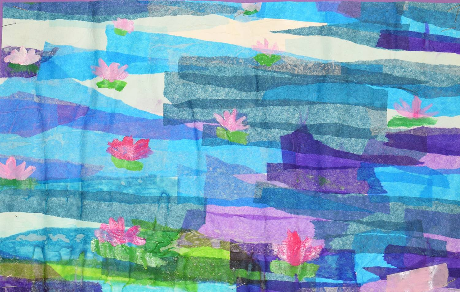 A rendition of Monet's Water Lilies done in a collage of blue, purple, green and pink tissue pap
