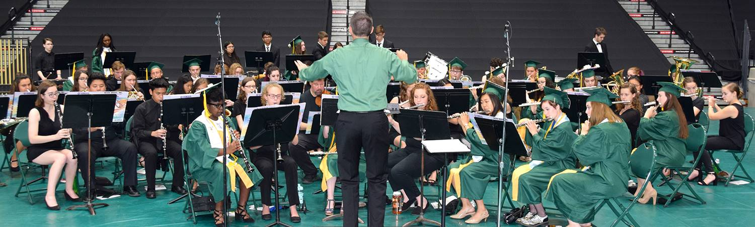 The graduation band plays in the Binghamton University Events Center before the Vestal High School G