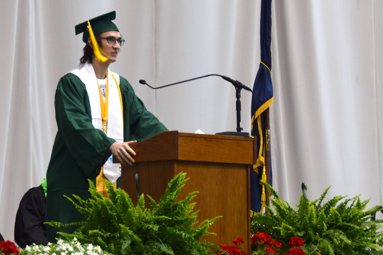 Vestal High School Valedictorian Christopher Vincens takes the podium to deliver his graduation spee