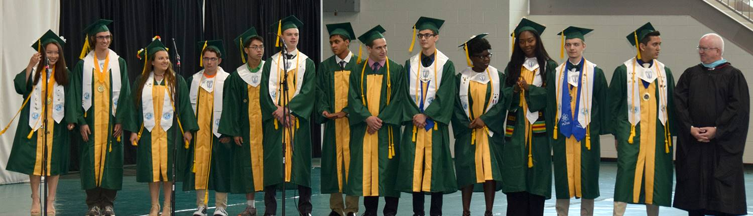 Vestal High School students who are candidates for the International Baccalaureate Diploma line up t
